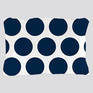 Blue, Navy: Polka Dots Pattern (Large) Pillow Case