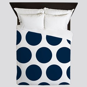 Blue, Navy: Polka Dots Pattern (Large) Queen Duvet