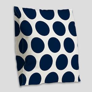 Blue, Navy: Polka Dots Pattern Burlap Throw Pillow