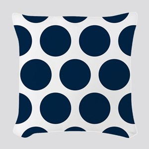 Blue, Navy: Polka Dots Pattern Woven Throw Pillow