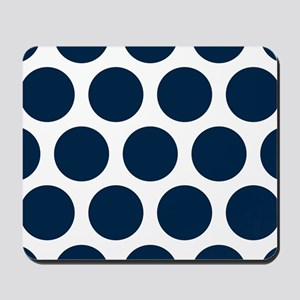Blue, Navy: Polka Dots Pattern (Large) Mousepad