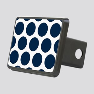 Blue, Navy: Polka Dots Pat Rectangular Hitch Cover