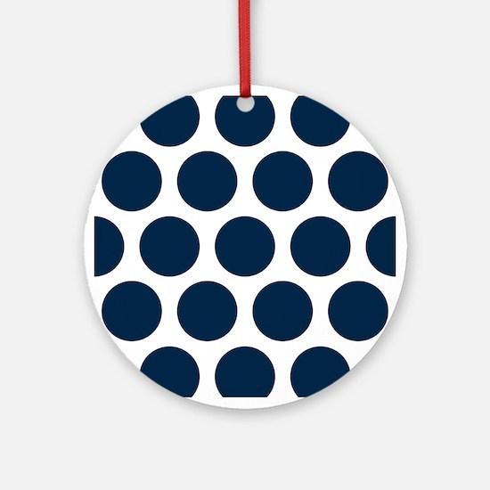 Blue, Navy: Polka Dots Pattern (Lar Round Ornament