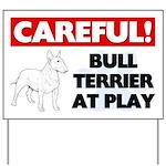 Careful Bull Terrier At Play Yard Sign