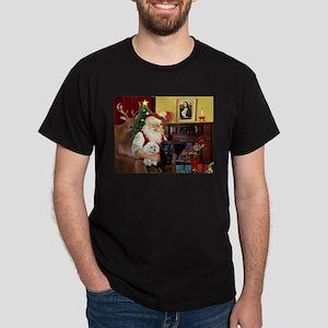 Santa's 3 Poodles (B+W) Dark T-Shirt