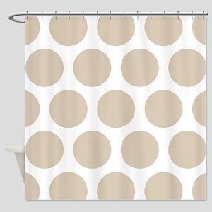 Brown, Beige: Polka Dots Pattern (L Shower Curtain