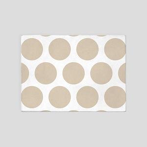 Brown, Beige: Polka Dots Pattern (L 5'x7'Area Rug