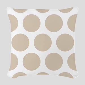 Brown, Beige: Polka Dots Patte Woven Throw Pillow