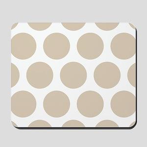 Brown, Beige: Polka Dots Pattern (Large) Mousepad