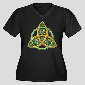 Celtic Trinity Knot Women's Plus Size V-Neck Dark