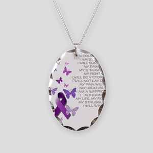 Purple Awareness Ribbon Necklace Oval Charm