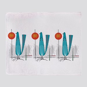 Mid-Century Modern Birds Throw Blanket