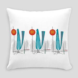 Mid-Century Modern Birds Everyday Pillow