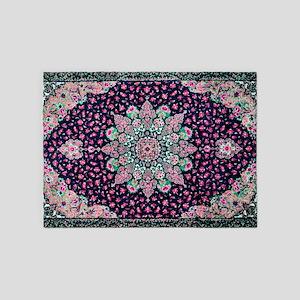 Antique Vintage Pink Persian Rug 5'x7'Area Rug