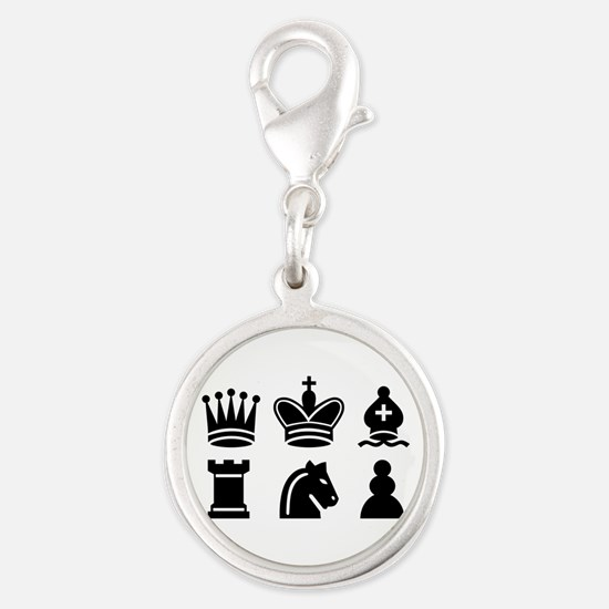 Chess game Silver Round Charm
