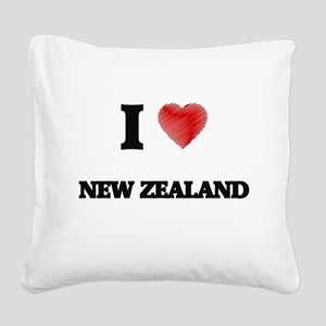 I Love New Zealand Square Canvas Pillow