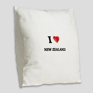 I Love New Zealand Burlap Throw Pillow