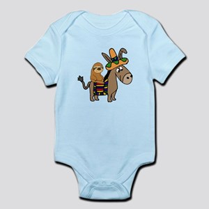 Funny Sloth Riding Burro Body Suit