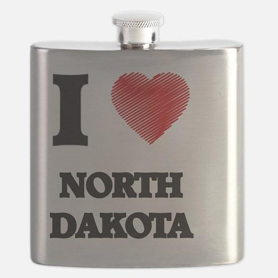 Cute I hate north dakota Flask
