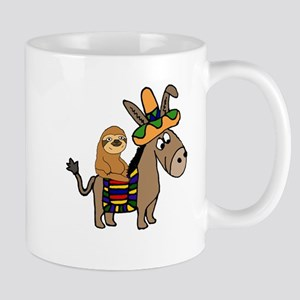 Funny Sloth Riding Burro Mugs