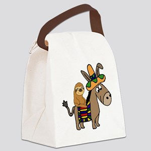 Funny Sloth Riding Burro Canvas Lunch Bag