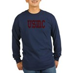USMC stitch Long Sleeve Dark T-Shirt