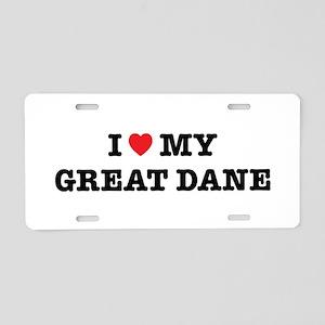 I Heart My Great Dane Aluminum License Plate