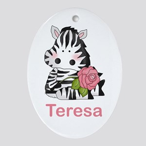 Teresa's Zebra Rose Oval Ornament