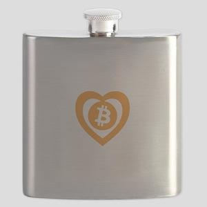 Bitcoin Heart Logo Symbol Flask