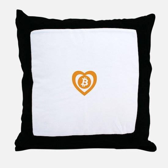Bitcoin Heart Logo Symbol Throw Pillow