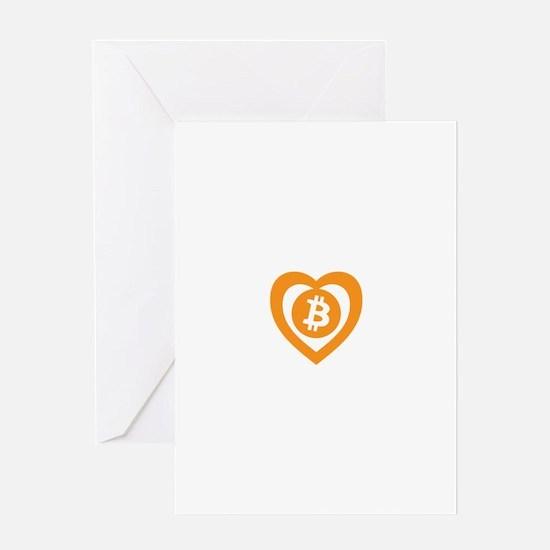 Bitcoin Heart Logo Symbol Greeting Cards
