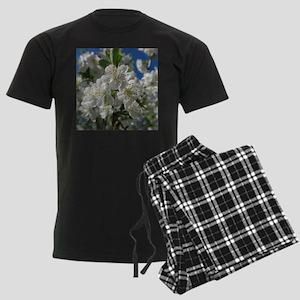 white cherry blossom in spring Men's Dark Pajamas