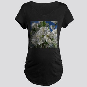 white cherry blossom in spring a Maternity T-Shirt