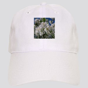 white cherry blossom in spring against a blue Cap