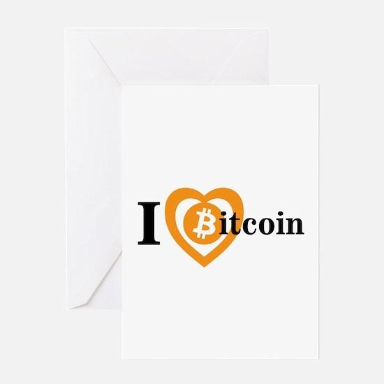 I Heart (Love) Bitcoin Logo Symbol Greeting Cards