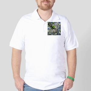 white cherry blossom in spring against Golf Shirt