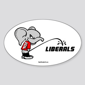 GOPee on Liberals Oval Sticker