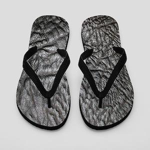 Black Leather Look Flip Flops