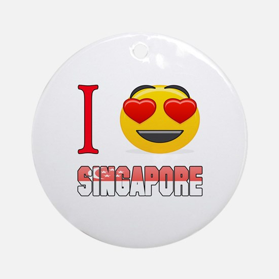 I love Singapore Round Ornament