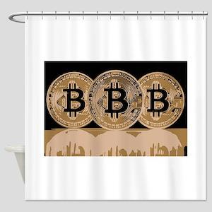 Bitcoin Logo Symbol Design Icon Shower Curtain