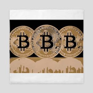 Bitcoin Logo Symbol Design Icon Queen Duvet