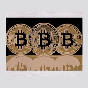 Bitcoin Logo Symbol Design Icon Throw Blanket
