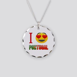 I love Portugal Necklace Circle Charm
