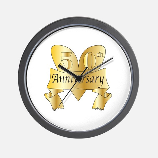Unique Golden wedding anniversary Wall Clock
