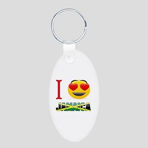 I love Jamaica Aluminum Oval Keychain