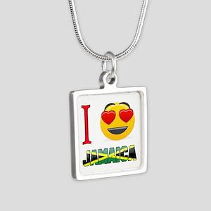 I love Jamaica Silver Square Necklace