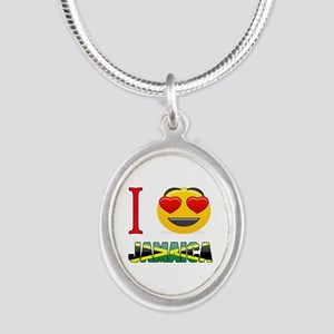 I love Jamaica Silver Oval Necklace