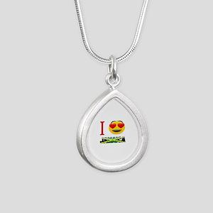 I love Jamaica Silver Teardrop Necklace