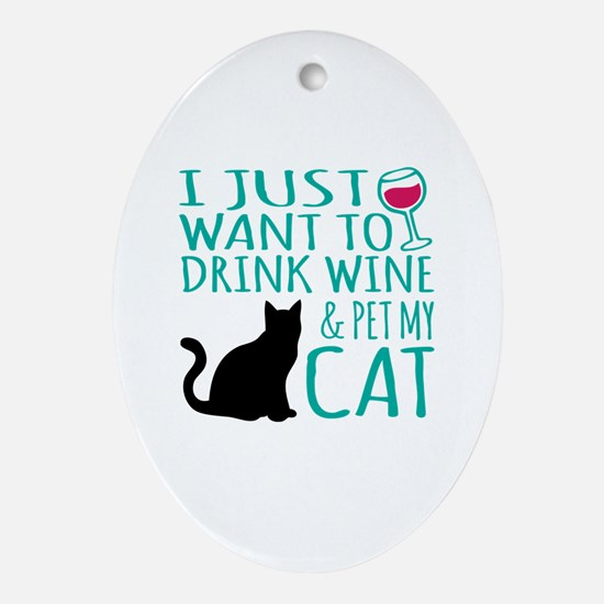 Cute Funny cats Oval Ornament