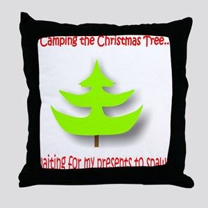 Camping the Christmas Tree Throw Pillow